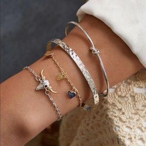 Jewelry - BULL HEAD WESTERN BOHO BRACELET SET GOLD SILVER